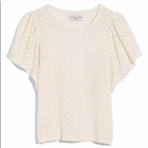 Madewell White Flutter Sleeve Top